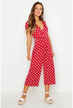 Red Petite Polka Dot Wrap Front Culotte Jumpsuit