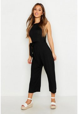 Black Petite High Neck Belted Rib Culotte Jumpsuit