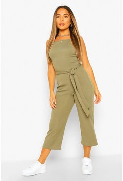 Khaki Petite High Neck Belted Rib Culotte Jumpsuit