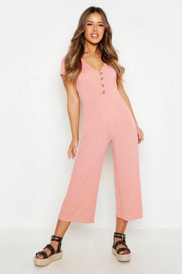 Apricot nude Petite Rib Mock Horn Button Culotte Jumpsuit