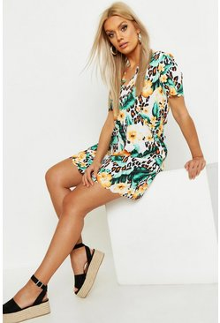 Tan brown Plus Floral Leopard Scallop Hem Shift Dress