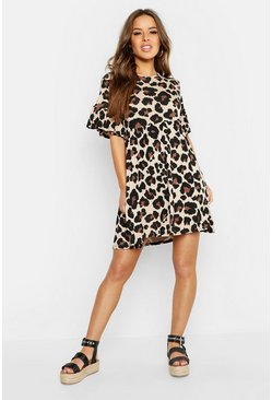 Tan brown Petite Leopard Print Smock Dress