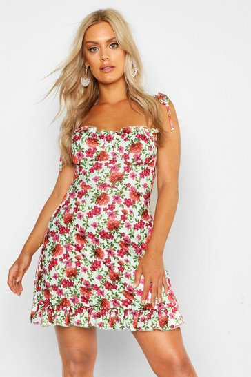 Sage green Plus Floral Ruched Cup Skater Dress