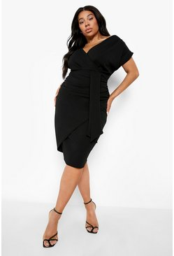 Black Plus Off The Shoulder Wrap Front Belted Midi Dress