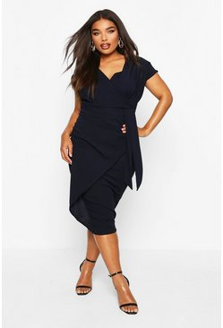 Navy Plus Bardot Wrap Front Belted Midi Dress