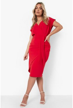 Red Plus Bardot Wrap Front Belted Midi Dress