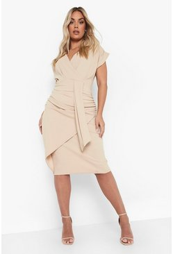 Stone beige Plus Off The Shoulder Wrap Front Belted Midi Dress