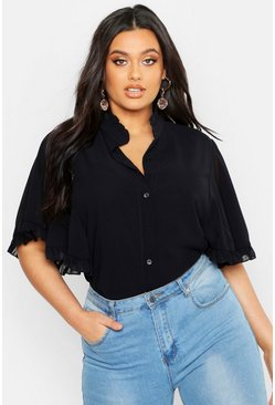 Black Plus Woven Ruffle Angel Sleeve Blouse