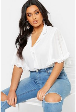 Ivory white Plus Woven Ruffle Angel Sleeve Blouse