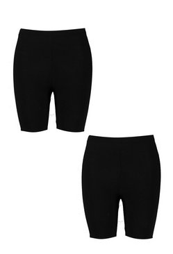 Black Plus Basic Jersey Cycling Shorts 2 Pack