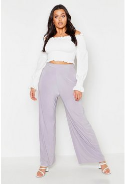 Grey Plus Slinky Wide Leg Trousers