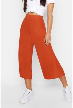 Terracotta orange Petite Rib Wide Leg Culottes