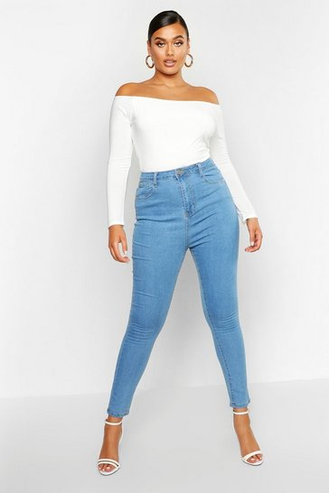 Light blue blue Plus High Waist Skinny Jean