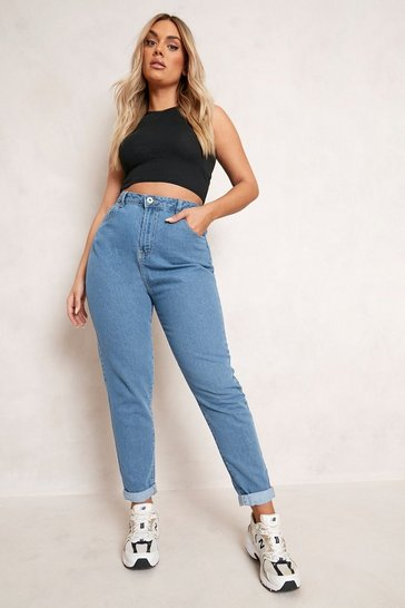 Mid blue blue Plus High Waist Mom Jean
