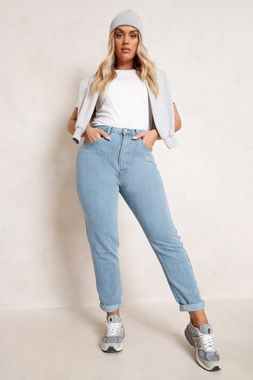 Light blue blue Plus High Waist Mom Jean