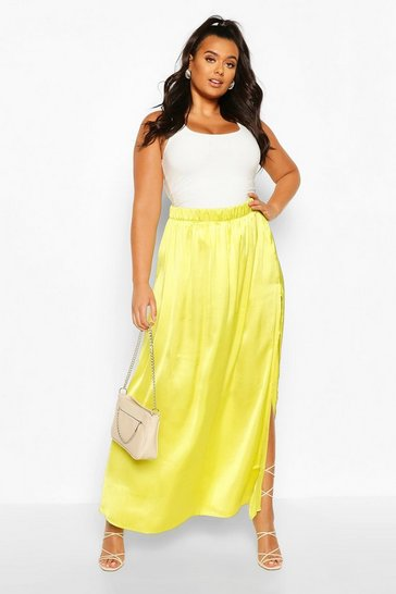 Chartreuse Plus Side Split Satin Maxi Skirt