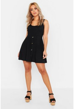 Black Plus Plunge Button Down Skater Dress