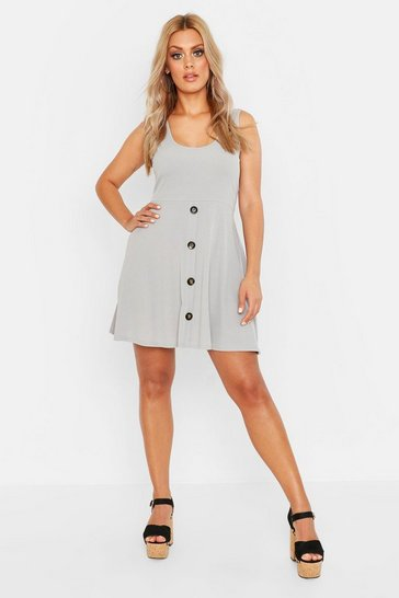 Grey marl grey Plus Plunge Button Down Skater Dress