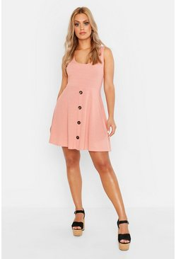 Rose pink Plus Plunge Button Down Skater Dress