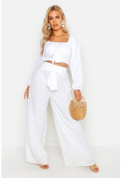 Ivory Plus Woven Tie Belt Detail Wide Leg Pants