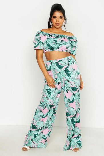 Pink Plus Palm Print Off Shoulder Top And Trouser Co-ord