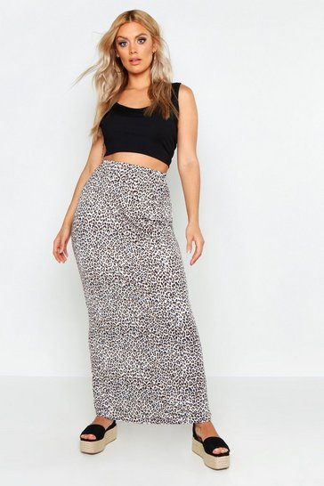 Black Plus Leopard Maxi Skirt
