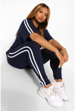 Navy Plus Stripe Short Sleeve Lounge Set