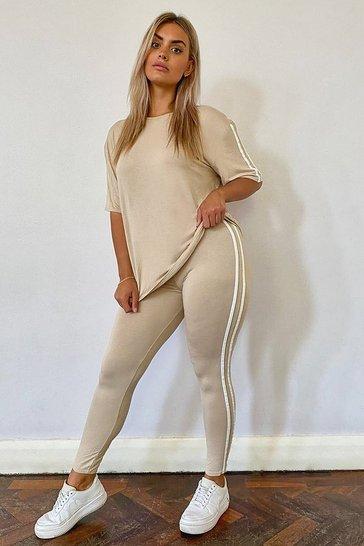 Stone beige Plus Stripe Short Sleeve Loungewear Set