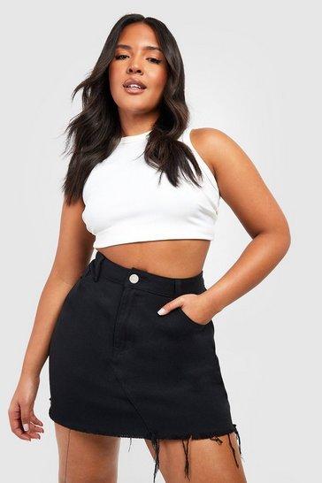 Black Plus High Rise Fray Hem Denim Skirt