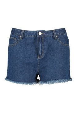 Mid wash Plus High Rise Fray Hem Denim Shorts