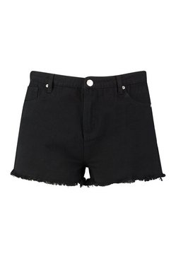 Black Plus High Rise Fray Hem Denim Shorts