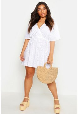 White Plus Broderie Anglaise Wrap Skater Dress