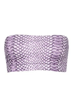 Lilac Petite Mix & Match Snake Print Ribbed Bandeau Top
