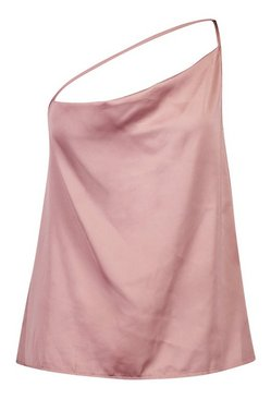 Rust pink Plus Asymmetric One Shoulder Satin Cowl Cami