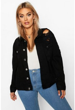 Black Plus Oversized Distressed Denim Jacket