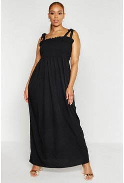 Black Plus Shirred Tie Shoulder Maxi Dress