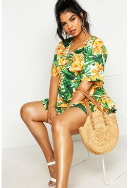 Green Plus Tropical Floral Ruffle Smock Dress