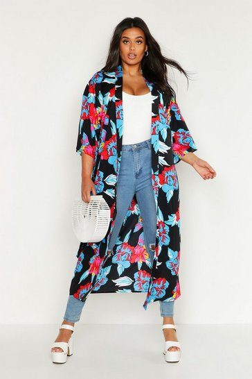 Plus Floral Print Belted Kimono