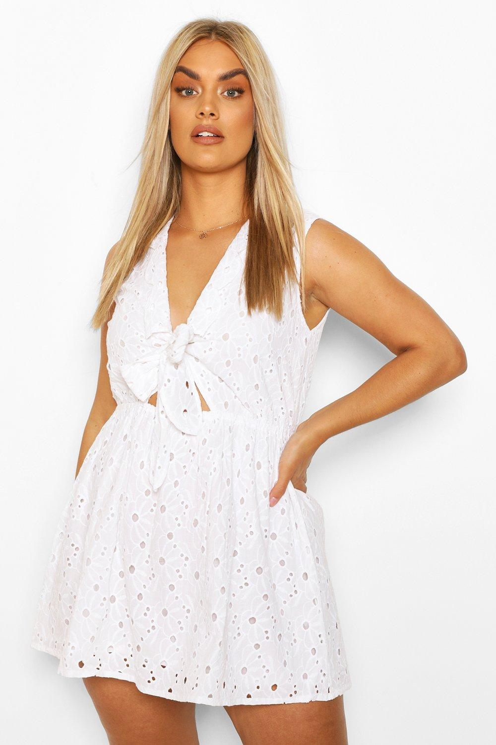 Plus Broderie Anglaise Ruffle Skater Dress 7