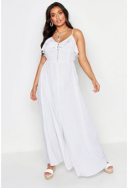 White Plus Ruffle Button Front Maxi Dress