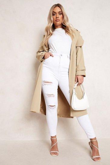 White Plus Super Distressed High Waist Skinny Jeans