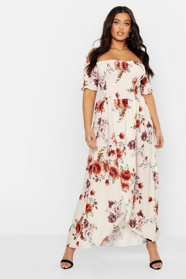 Cream white Plus Floral Off Shoulder Maxi Dress