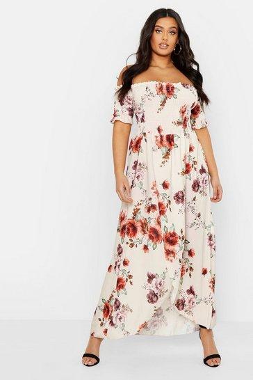 Cream white Plus Floral Off Shoulder Maxi Dress