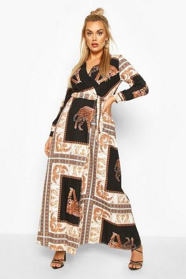Black Plus Chain Print Maxi Dress