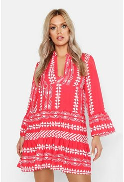 Red Plus Aztec Smock Dress
