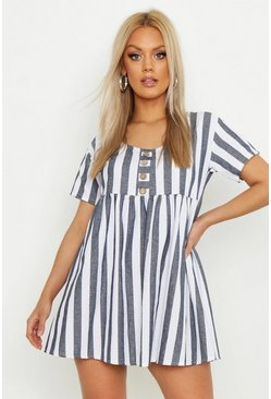 Blue Plus Striped Smock Dress