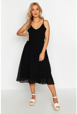 Black Plus V Neck Skater Midi Dress