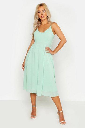 Mint green Plus V Neck Skater Midi Dress
