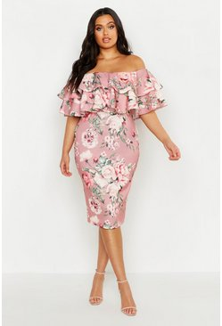 Rose pink Plus Off Shoulder Floral Ruffle Midi Dress