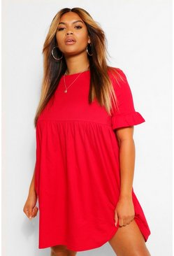 Red Plus Ruffle Cotton Smock Dress